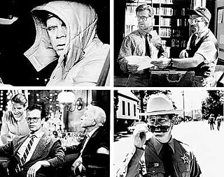 clockwise from top left: Macy as car salesman Jerry Lundegaard in <i>Fargo</i>, John the professor in <i>Oleanna </i>(with David Mamet, right), Sheriff Chappy Dent in <i>Happy, Texas,</i> and Quiz Kid Donnie Smith in <i>Magnolia</i>