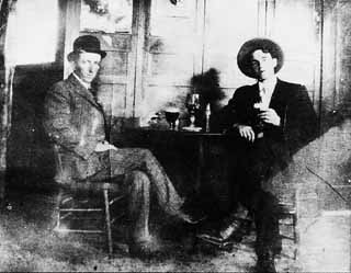 Archie Bass Turner, left, and John Flanagan toss one back at the Turner Hall Saloon near the University of Texas.