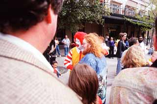 Ronald McDonald poses with Harry Knowles
