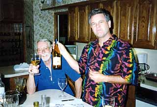 The late Bob Lowe (left) and Crutch Crutchfield founded the Original Zinners, a tightly knit group that monthly celebrates the siren song of America's only homegrown grape.