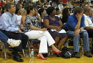 AISD Board of Trustees (left to right: Vince Torres, Lori Moya, Cheryl Bradley, Mark Williams): Long night on Monday