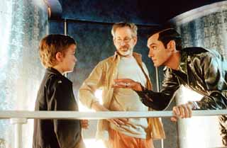 <i>A.I.,</i> starring Haley Joel Osment (l) and Jude Law (r), owes as much to director Steven Spielberg as it does to Stanley Kubrick.