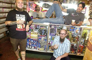 Ben White (l), Mike Rodriguez, Steve Garcia, and owner Conrad Bejarano (lying on the counter)