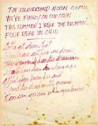 Original lyric manuscript for Ohio, written on May 20, 1970