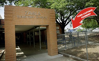 As one of Pure Castings' nearest neighbors, Zavala Elementary has become the center of the war over emissions standards. Pure Castings is located just across the street, seen here to the right of the school, just beyond the swing set.