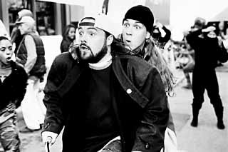 Kevin Smith (l) and Jason Mewes take a break from death threats and theology with <i>Jay and Silent Bob Strike Back</i>,  which Smith and the Austin Film Society will present in a regional premiere at the Paramount Theatre on Monday.