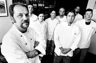 Alan Lazarus and his staff at Vespaio