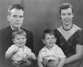 Mary Ladd Gavell managed to end up in <i>The Best American Short Stories of the Century</i>, but not at the expense of her everyday life. In 1957, the Gavell family returned to Texas from Washington, D.C., for a visit and had this photo taken. Mary is holding her son Stefan Michael, with Anthony on his father Stefan's lap.