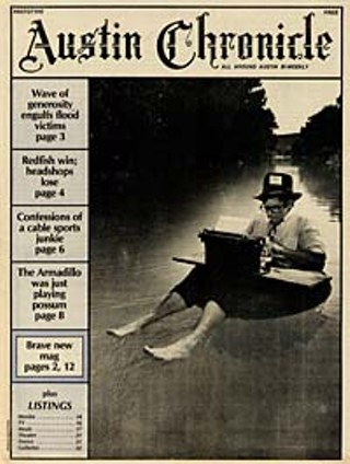 The prototype issue of  <i>The Austin Chronicle</i> hit the streets  midsummer 1981. Floating: Nick Barbaro. Underwater: Joe Dishner