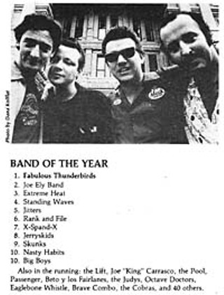 Our first Music Poll mixed punk, funk, and blues, and the Fabulous Thunderbirds were band of the year.
