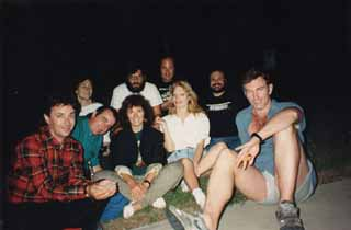 Back row: Kathleen Maher, Nick Barbaro, Ed Ward, Louis Black   Front row: (Two unidentified Australian friends), Galia Hardy, Susan Moffat, and John Sayles