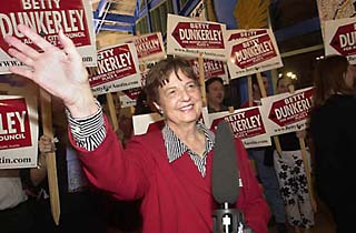 Former Assistant City Manager Betty Dunkerley arrives at the Millennium Complex after locking down over 40% of the vote. Two days later, incumbent Beverly Griffith withdrew, handing Dunkerley victory.