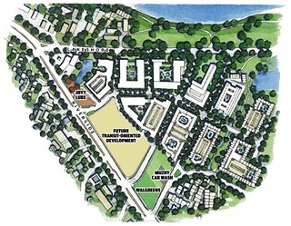 An artist's  rendering  of what the proposed development might look like