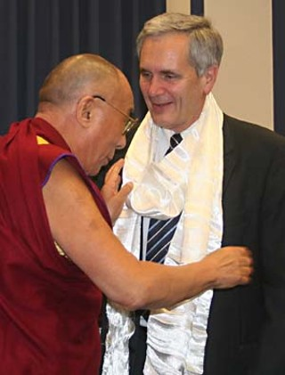 Hello, Dalai: The Dalai Lama presented Austin U.S. Rep. Lloyd Doggett with a Tibetan prayer shawl last week during a visit to Washington, D.C. Doggett and other lawmakers honored the Tibetan with a human rights award.