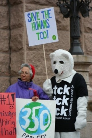 Ralliers gathered at the Capitol Dec. 12 in support of climate action.