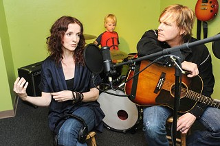 School's out: Patty Griffin and Jack Ingram talk shop at the Grounded in Music studio.