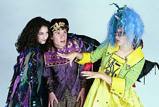 Elle Virus (Kaitlin Garner), the Prince (Michael Evans), and  Auntie Virus (Meredith Perry) in the high tech fairy tale <i>Cyberella </i>