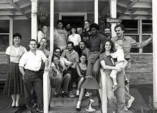 Patricia Atkinson (holding child), David Ayer, and the staff of the original cafe, circa 1982