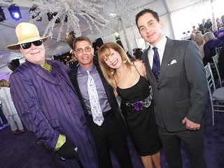 Your Style Avatar (l), dressed like an eggplant and flanked by Eddie Safady, Alice Parrish, and Graydon Parrish at the Long Center's second anniversary party