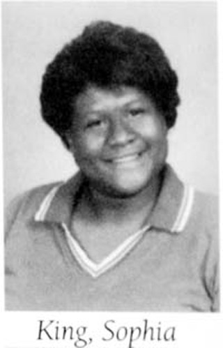 Sophia King's senior class yearbook photo. Anderson High School, 1998: King was 19.