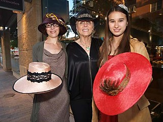 (L-r) Milliner Laura del Villaggio with Beyond Tradition's Kappie Bliss and violin phenom Ruby Jane Smith wearing spring hats for Beyond Tradition's Pre-Kentucky Derby Party