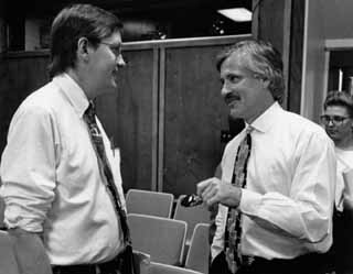 Despite the smiles, venom frequently flew between <i>Austin Chronicle</i> journalist Daryl Slusher (left) and Circle C developer Gary Bradley. Now a City Council member, Slusher has tried to bury the hatchet with Bradley by negotiating a settlement deal.