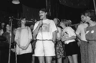 Environmental leaders Ann Kitchen (left), Bill Bunch (center), and Brigid Shea (right) celebrate overwhelming passage of the SOS Ordinance in 1992. Shea would later be elected to the Austin City Council. Kitchen is an Austin state representative.