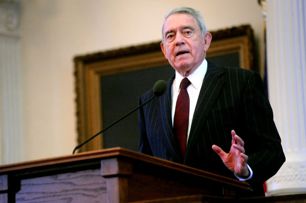 Dan Rather held forth in the Texas State Capitol's House Chamber on his memoir Rather Outspoken: My Life in the News