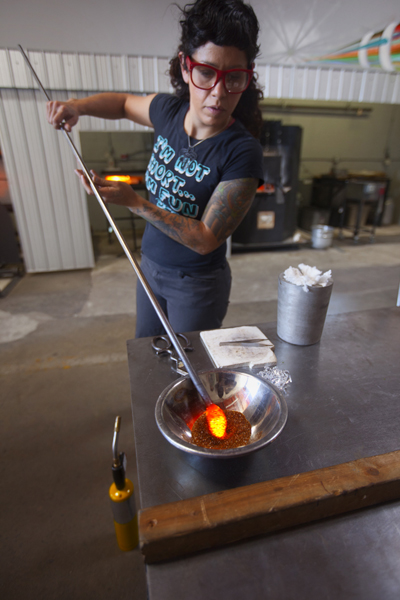 Shara Funari demonstrating glass work at East Side Glass Studio