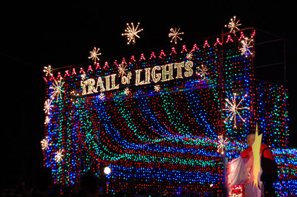 The Trail of Lights returned this year on Dec. 16 and will remain open every night from 6:30 to 10pm through Sunday, Dec. 23. This is the traditional Victorian entry gate, sponsored by H-E-B. The trail relied on corporate sponsors to bring the event back to Austin this year, after a two-year hiatus.