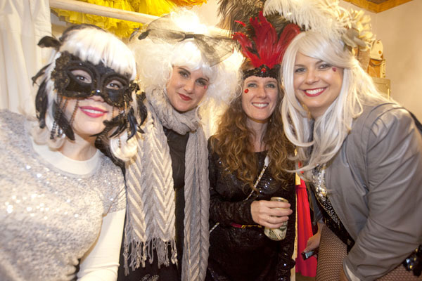A sassy krewe bundles at Maison d'Etoile, prior to the 12th Night procession
