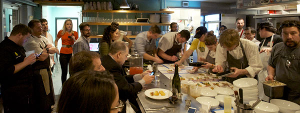 All the guest chefs working the line in full view of the diners