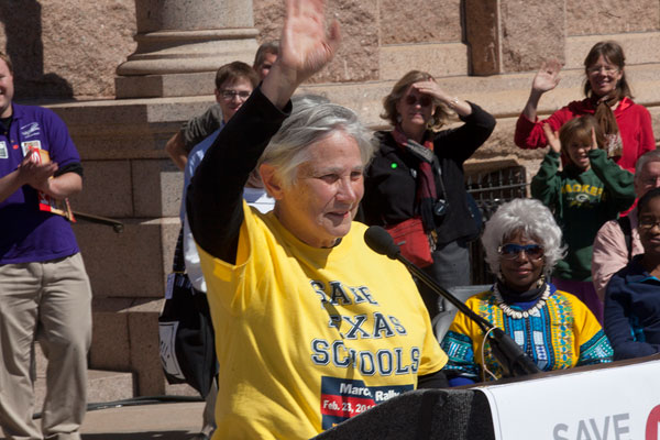 Education writer and former U.S. Assistant Secretary of Education Diane Ravitch addresses the Save Texas Schools March and Rally 2013.
