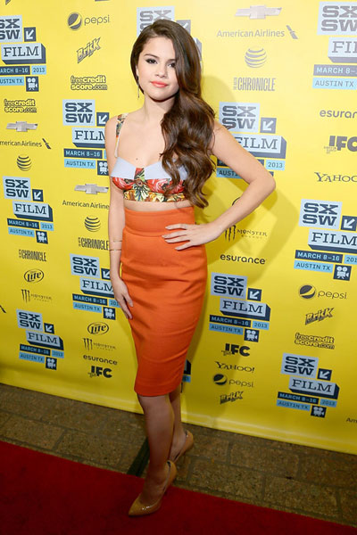 Selena Gomez at the Spring Breakers red carpet at the Paramount Theatre on March 10, 2013