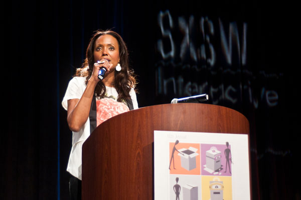 Emcee Aisha Tyler at the 2013 SXSW Interactive Awards, March 12, 2013