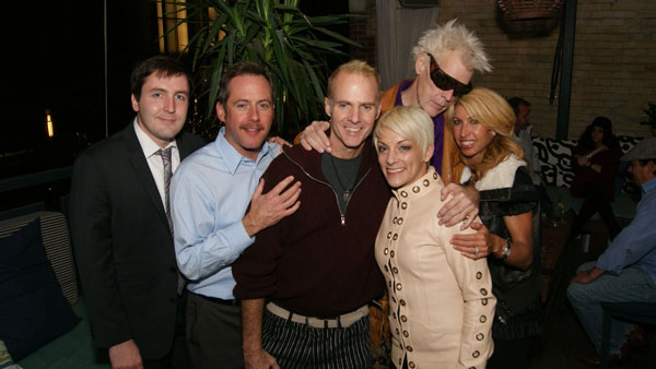Seabrook Jones (center) at his benefit  surrounded with love from Micah King and Stephen Rice (left) and Jacki Oh, Stephen Moser and Maria Groten, November, 2012.