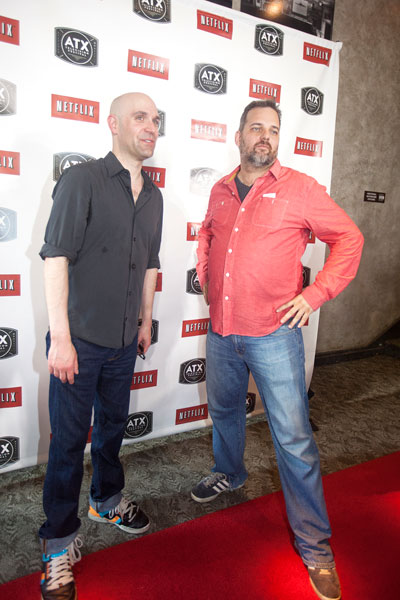 Rob Schrab and Dan Harmon on the red carpet for the ATX TV Festival. For more on the fest, see