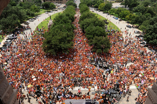 An estimated 5,000 people flooded the Texas State Capitol and grounds for Monday's Stand With Texas Women rally in support of women's reproductive rights.