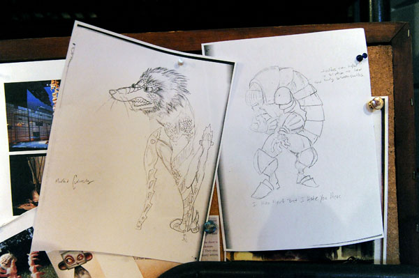In the midst of preparations for its original production, The Head, the Trouble Puppet Theater Company opened its studio and workshop to the Chronicle to show how its puppeteers develop the creatures for a show. Here, pencil sketches of puppets