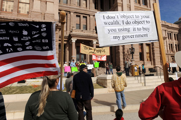 1) Participants with Occupy Austin and others attend and speak at a rally at the Texas State Capitol on January 19. The rally was in support of SCR 2 and HCR 21; bills introduced in the Texas Legislature to overturn the Supreme Court decision, Citizens United in an effort to regulate the expenditure of money in politics. The rally was organized by Occupy Austin's
