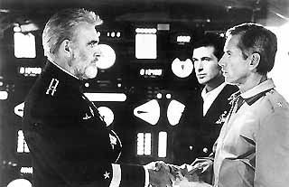 Sean Connery, Alec Baldwin, and Scott Glenn star in the film adaptation of Tom Clancy's The Hunt for Red October