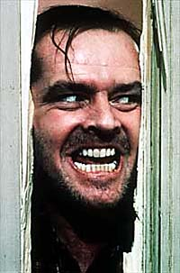 jack nicholson looking through door