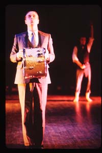 Rude Mechs-Robert Pierson as Richard Huelsenbeck with Gavin Mundy in the background as Guy Debord performing DADA photograph by Kimberly Hewitt